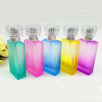 big perfume bottles - 5 Color Big Glass Perfume Bottle ml Pump Empty Square Scented Bottle Atomizer Travel Makeup Accessories DC871