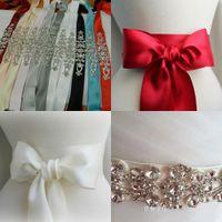 wedding dress belts - 2015 Satin Rhinestone Bridal Sashes Belts With Stunning Crystals Beaded Wedding Accessories TDH Long Wedding Belt For Wedding Dresses Belts
