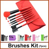 green synthetic - 7pcs brushes kit professional makeup brushes set kit makeup brush tool wood handle synthetic fiber hair