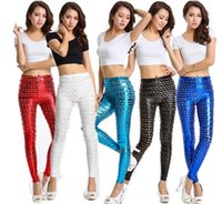 Polyester Mid Fashion Punk Metal Holes Fish Scale Pattern Bright Skin Slim Solid Color Leggings Women High Waist Bodycon Skinny Leggings Pencil Pants NW41
