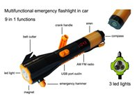 Wholesale 9 in v multifunction Car Emergency Hammer hand Crank Dynamo Car Safety Hammer LED Flashlight Torch mobile Charger car emergency tool