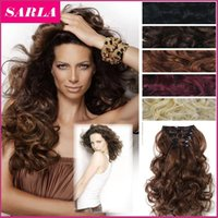 Wholesale 22 Colors Avaialble cm inch g Clip In Hair Extensions Curly Wavy Hairpiece set Synthetic Clip On Hair Extension A5