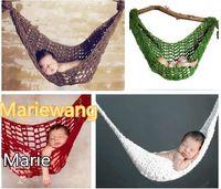 baby hammock - Children Accessories Newborn Infant Baby Toddler Baby Sleeping Wool Handmade Hammock Children Caps Photography Props color MC