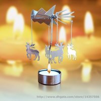 Wholesale Rotating Spinning Tea Light Carousel Christmas Candle Holder New Year Xmas Gift Star Angel Heart Elk
