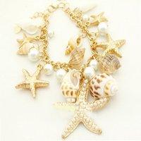 achat en gros de carapaces de crabe de gros-Vente en gros-Mode d'or imitation perle Shell Seahorse mer Starfish Étoile Reef Crab Plage Bracelet MPJ023Z