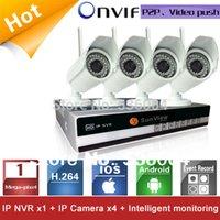 Wholesale 4 Channels NVR KIT P mp Wireless wifi IP Camera P2P Home alarm video push motion sensor CCTV Security Surveillance system