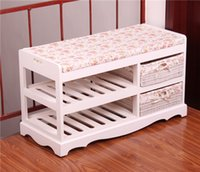 bench with storage - Wooden Shoe Rack With Two Storage Basket Paulownia Solid Wood Bench Living Room Furniture Japanese Style Shoe Bench Shelf Rack