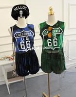 Cheap 5pcs lot 2015 Harajuku Style Tie-dye Tassel Hem NO.66 Letters Vests Sleeveless T-shirts Loose Casual Wear Women Sport Wear Tee Tops Apparel