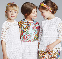 Cheap 2015 Spring Europe Girls Clothes Dresses 7th Sleeve Children Clothing Lace Hollow Flowers Sexy Dress Kids Fashion White Party Dressy H3108