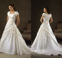 church dresses - 2015 Plus size modern church A line wedding dresses with cap sleeves scoop neckline lace up back appliques court train bridal gowns BO6954