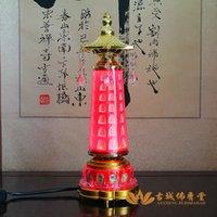 Wholesale LED Red Light Buddha Machine function marries shrine electric turning cylinder worship Buddha lamp Buddhist suppli