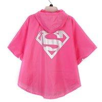 Wholesale 2015 Kids Rain Coat children Raincoat Rainwear Rainsuit Kids Waterproof Superhero Raincoat colors via DHL