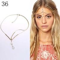 Wholesale Boho Gold Chain Shell Beads Crown Tikka Head Hair Cuff Headband Headpiece Band