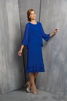 Wholesale 2016 Short Mother of The Bride Dresses With Jacket Groom Suit Chiffon Fall Tea Length Plus Size Cheap Fashion Evening Women Party Gowns