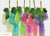 Wholesale Beautiful Artificial Wistaria Withes For Wedding Artificial Wistaria Canes Decorative Wistaria Wreaths Six Colors Two Styles