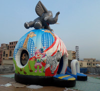 Wholesale Inflatable castle inflatable slide inflatable bouncer Charging elephant castle slide YLY