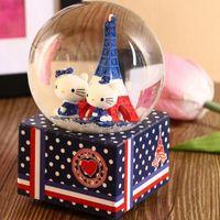 resin christmas ornaments - HOT kitty Eiffel Tower creative music box crystal ball resin crafts ornaments music box crystal ball music box ornaments Christmas gift