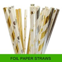 Wholesale 50pcs Plain star Polka dots Strip Foil Paper straws Metallic Gold and silver Paper Drinking Straws Wedding party decorations