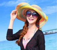 folding straw hat - 2015 New Style In Summer Lady Or Women Can Folding Sun Hat Big Breasted Beach Hat And Straw Hat