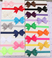 Wholesale Kids Flowers Hair Accessories quot Grosgrain Ribbon Bows Headbands Girls Rosette Elastic Hair Bands Headdress Baby Bow Knot Headwear