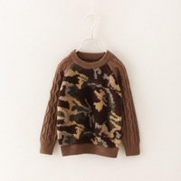 Cheap children sweaters cashmere camouflage fashion boys woolen yarn clothes round collar kids pullover 90-130 5pcs lot