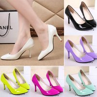 pumps shoes - New Arrivals Fashion Women Lady Candy Color Pointed Toe High Heels PU Leather Shoes Pumps EX55