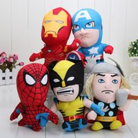 Multicolor avengers video games - Retail marvel The Avengers plush toy Captain America Iron Man Wolverine X Men Thor Spider man set soft doll stuffed toy quot cm