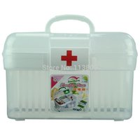 Wholesale Small Medicine Storage - Free Shipping Small Double Layer Health Box Medicine Storage box Chest First Aid Kit Storage Organizer G1913 Wholesale retail