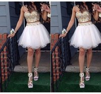 bandage yellows - Top Selling Two Pieces Homecoming Dresses Sexy A Line Spaghetti Gold Applique Pleats Short White Skirt Tulle Formal Cocktail Gowns
