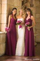 Cheap Top Selling Elegant Chiffon Halter Bridesmaid Dresses A Line Floor Length Ruched Cheap Burgundy Bridesmaid Dress Zipper Back