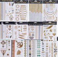 henna tattoo - designs sex product temporary tattoo necklace bracelet flash gold tattoo henna tatouage metalilc tattoos fake body art Freeshipping