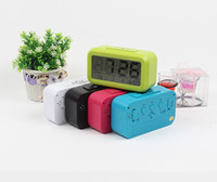 Wholesale Free DHL Color Electronic Digital Alarm Clock LED Backlight Light Control Thermometer Temperater Clock