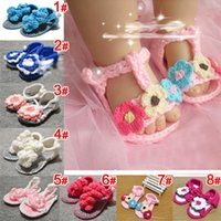Wholesale Best Quality M M Toddler Baby Shoes Pure Handmade Weave Wool Cartoon Infant Crochet Shoes cheap HX