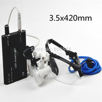 Cheap Sale!!! Black US-09 Dental Equipment Lab Surgical Medical Loupes Glasses 3.5x 420mm + Led Head Light Lamp AAA