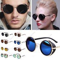 vintage frames - New arrival Hot Cool Vintage Unisex women men Sunglasses Colorful Round Frame Restoring Mirror SV004886