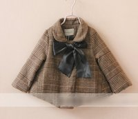 cotton batting - Girls Bat Plaid Coats Baby Collar Frenulum Butterfly Fashon Tops Autumn Winter Padded Cotton Outwear Clothing Childs Overcoat Color J2445