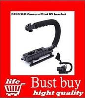 Wholesale C Shape flash Bracket holder Video Handle Handheld Stabilizer Grip Tripod Mount Adapter Screw For DSLR SLR Gopro HD Camera