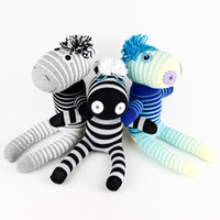 Wholesale Handmade sock monkey zebra stuffed animal baby toys doll baby toys birthday gift