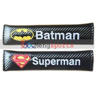 batman umbrella - 20 Sets Real Carbon Fiber Batman Superman ZENO UMBRELLA Flag Sport Black Shoulder pad Seat Belt Cushion MIX DHL Free