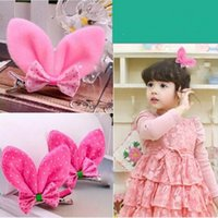 Wholesale Fashionable Korean Fashion Children s Hair Accessories Lovely Baby Hair Clips Rabbit Ears Bow Hair Hairpin