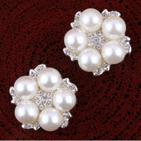 Cheap 30pcs Lot 22MM Classic Vintage Alloy Rhinestone Pearl Flower Buttons Embellishment Flatback DIY Hair Bow Decorations