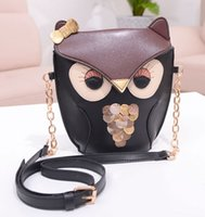 Wholesale New Style Cartoon Owl Golden Bowknot Sequined Cross Body Big Girls Bag Fashion Casual Cute N1597