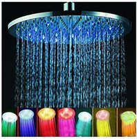 Wholesale New Arrival quot inch RGB LED Stainless Steel Rainfall Shower Head Bath Shower Faucets Shower Set Bathroom Accessories