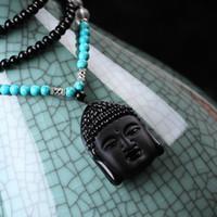 Wholesale 1pcs new Natural obsidian crystal Buddha Sakyamuni necklace Lucky safeness necklace talismans Long Necklace