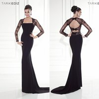 Cheap 2015 Sheath Evening Dress Tarik Ediz Black long Sleeve See-Through Backless Vestidos Festa Prom Dress