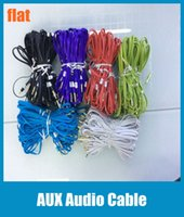 Wholesale 1m Aux Cables mm AUX Cable Male Stereo Audio Auxiliary Jack Male to Male for PC iPod CAR Phone Tablet Colorful Flat Noodle Cord CAB032