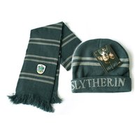 Wholesale Harry Potter Slytherin Thicken Wool Knit Scarf Hat Cap Set Warm Winter P16 C