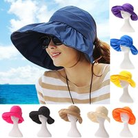 Wholesale 2015 New Women Hat Fashion Sunhat Spring Summer Flexible Wide Large Floppy Brim Foldable Packable Travelling Beach Cap Wide Brim Colors