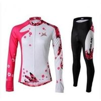 pink jersey - women Winter Cycling Jerseys bike suit pink petal team long sleeve bike Cycling wear clothing Cycling Wear Cycling Jersey pants suit kits