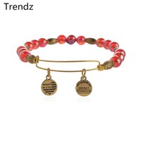 beaded chamilia bracelet - Trendz DIY Watercolor Red Chamilia Beads Beaded Bangle Alex Ani Antique Gold Stainless Steel Expandable Wire Bracelet